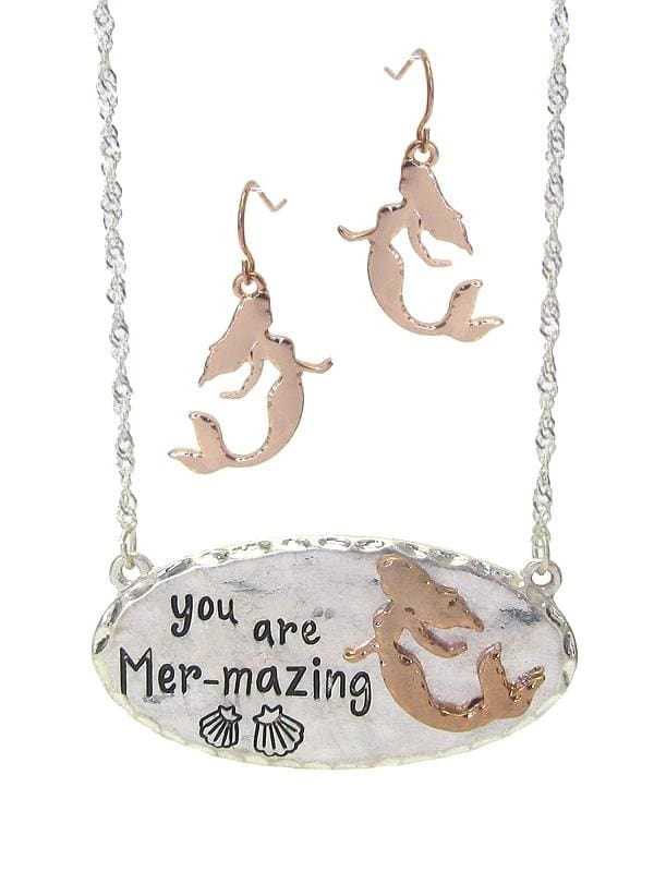 You Are Mer-Mazing Sea Life Theme Pendant Necklace Set - Worn Silver/rose Gold - Jewelry