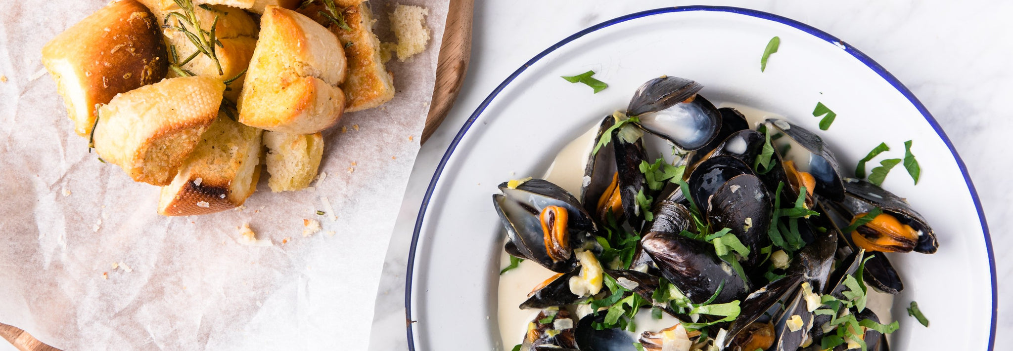 Wood Fired Mussels with Parmesan Bread Bites