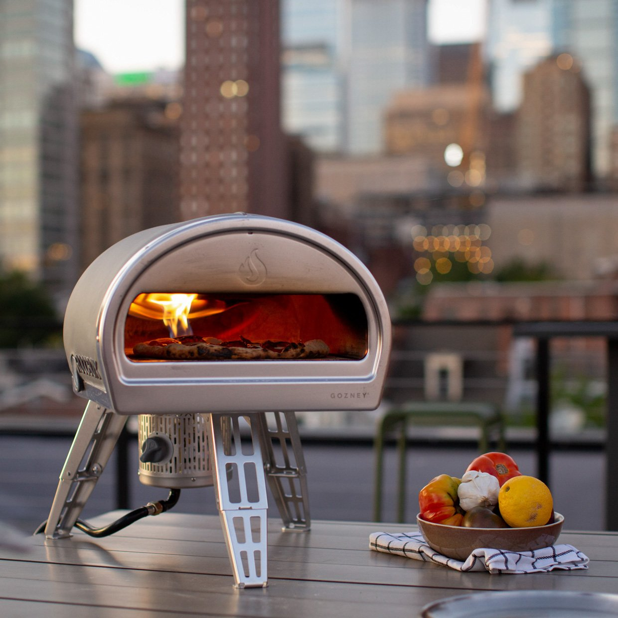Pizza oven with New York skyline