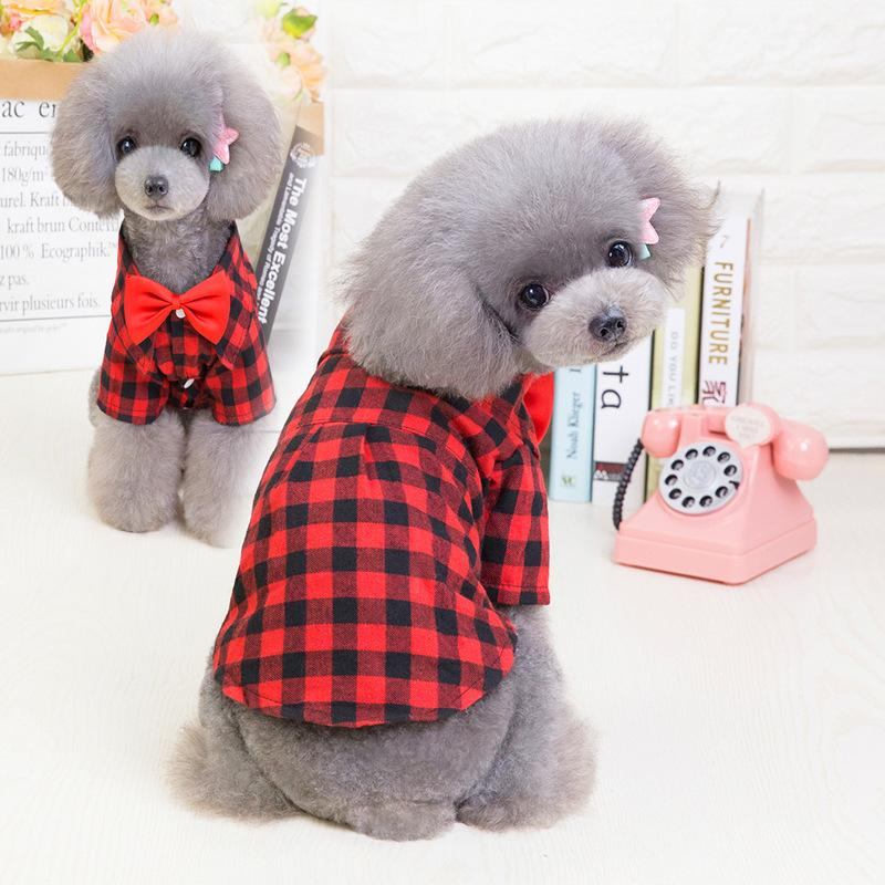 Bow Neckline Plaid Dog Shirt - Dogs and Cats Boutique