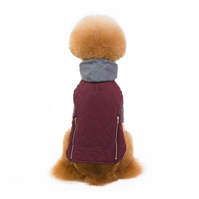 Hooded Two-Tone Zipper Dog Jacket - Dogs and Cats Boutique