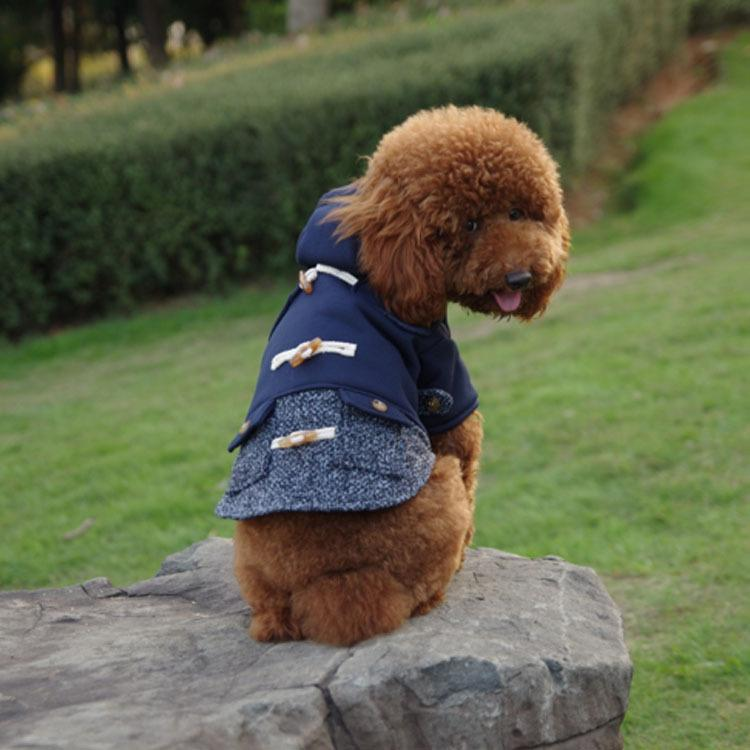 Horn Button Hooded Coat - Dogs and Cats Boutique