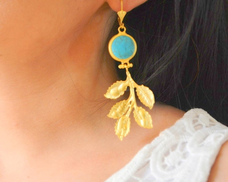Gold Leaf Gemstone Earrings - CosmeticsWarehouseOutlet&Perfumery.