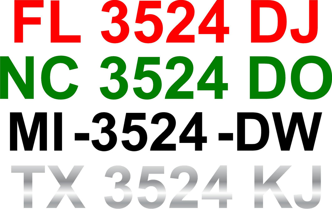 Single Color Boat Registration Numbers