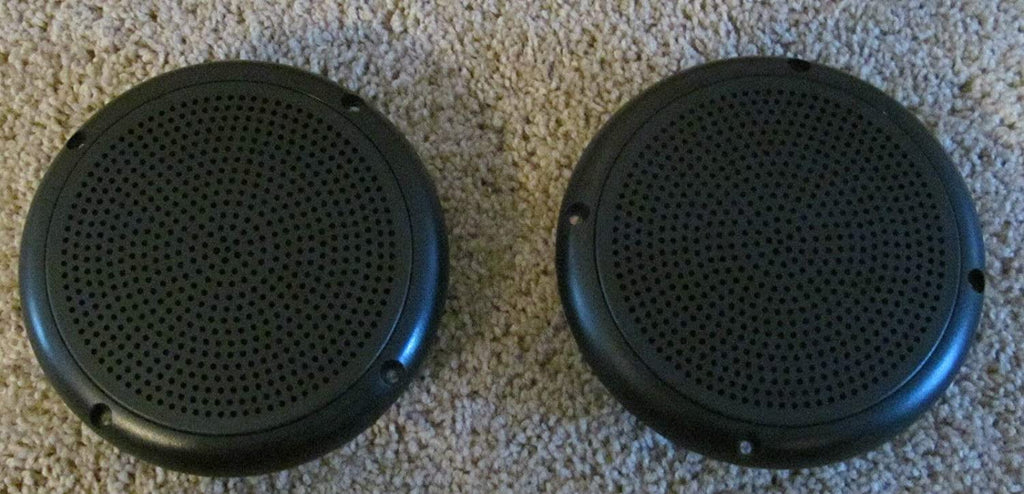 "2 RV Marine Trailer Black 5.25"" Recess Mount Speakers UV Protected Waterproof - Flair Distribution"