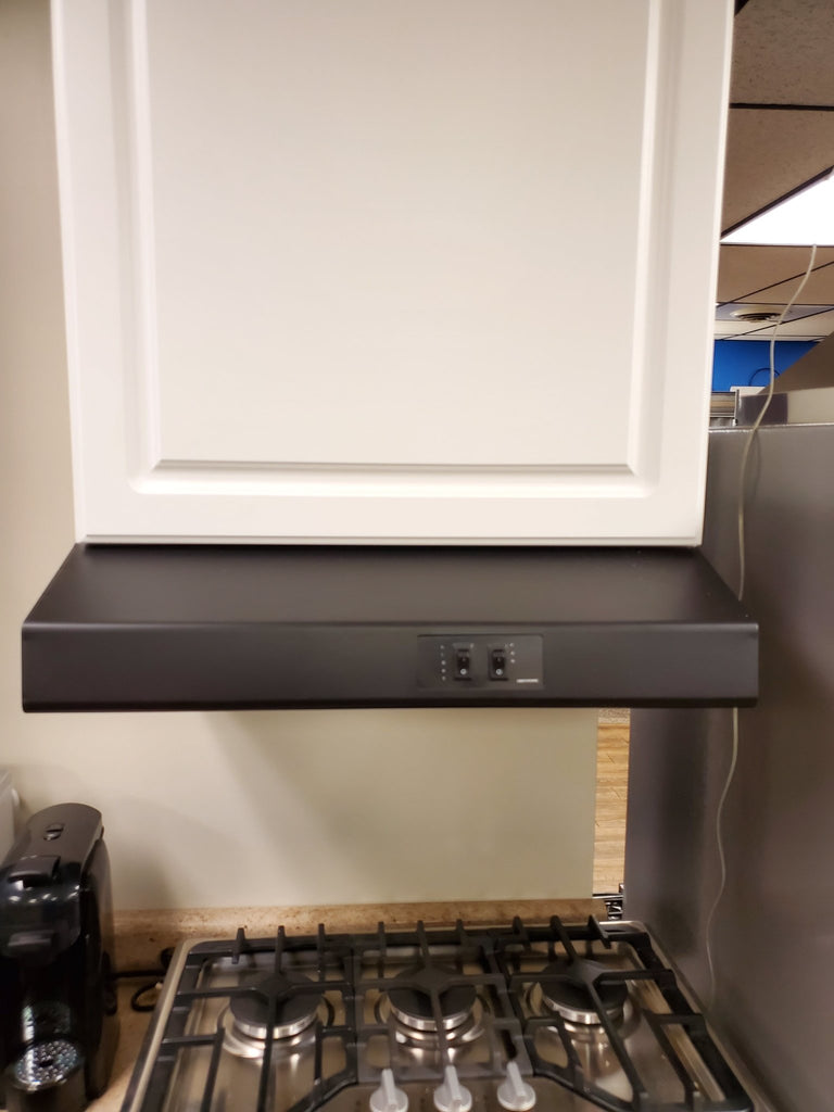 "24"" Black Greystone Rear Ducted RV Range Hood (12 Volt DC) 