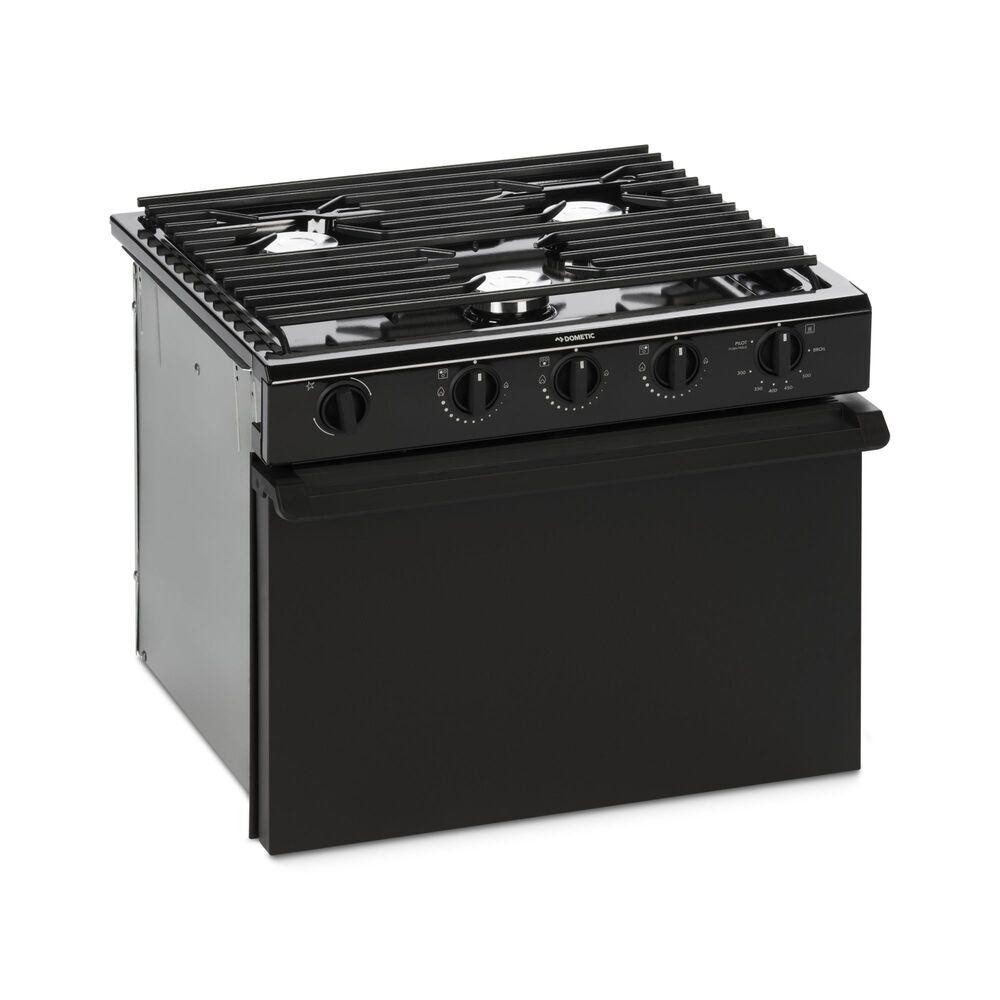 "Dometic 17"" 3-Burner Oven Range, Black, Wire Grate - Flair Distribution"
