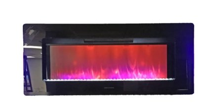 "Greystone 47"" Electric Fireplace with Crystals - Wall Mount - Black - LED Side Lights 