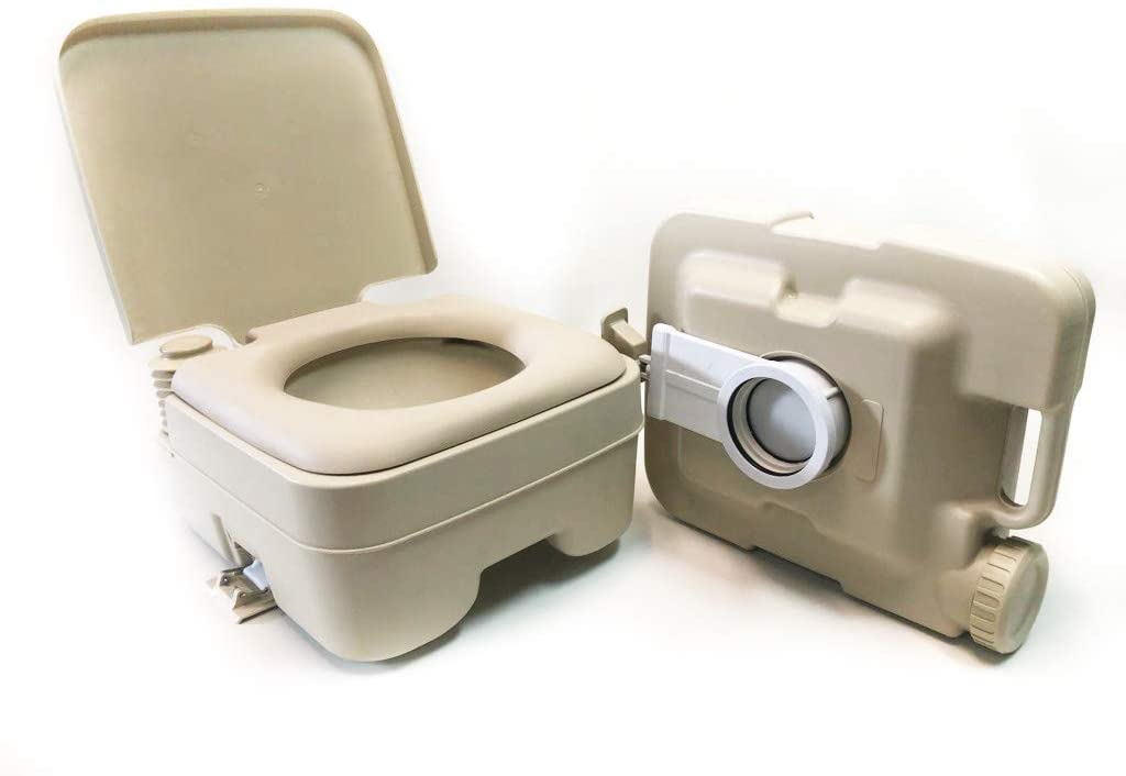Heng's Industries TraveLoo Portable Toilet - 2.5 Gal - Compact Indoor/Outdoor Toilet Made for RV, Boat, Camping - Holding Tank Easily Removable, Dual Seals Leak Resistant, Built-in Flusher - Flair Distribution