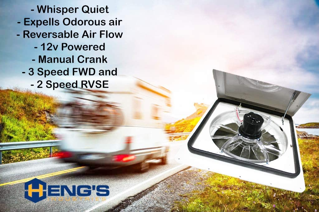 Heng's Industries Zephyr I RV Roof Vent Fan, 3-Speed Forward, 2-Speed Reverse - Manual Crank RV Roof Vent Fan -White, Clear Lid - | Flair Distribution - Flair Distribution