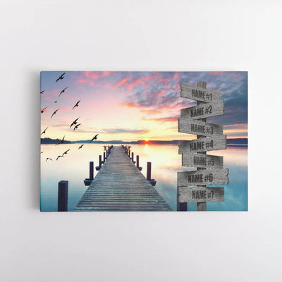 Lake Sunset Dock Name Signs Canvas Art