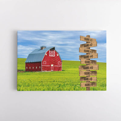 Red Barn Name Signs Canvas Art