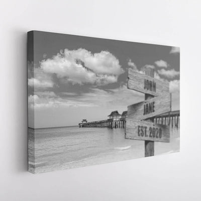 Beach Dock Name Signs Canvas Art