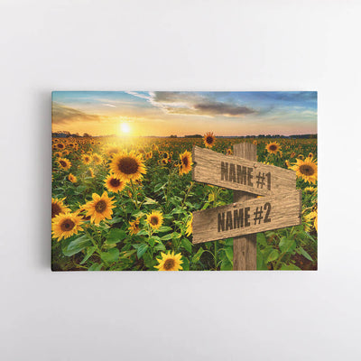 Sunflower Field Name Signs Canvas Art