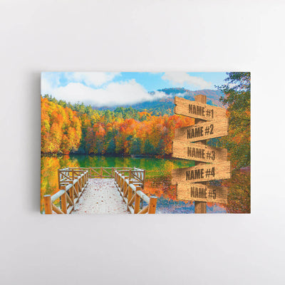 Autumn Lake Dock Name Signs Canvas Art