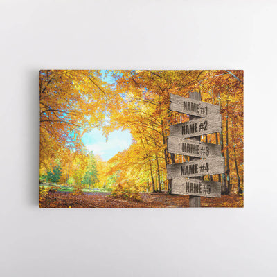 Autumn Love Name Signs Canvas Art