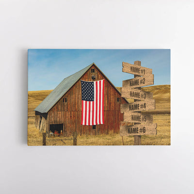 American Barn Name Signs Canvas Art