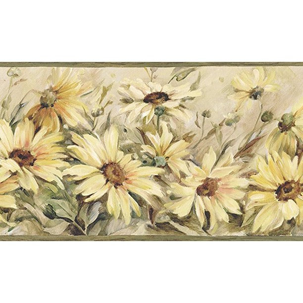 Field of Sunflowers Wallpaper Border - all4wallswall-paper