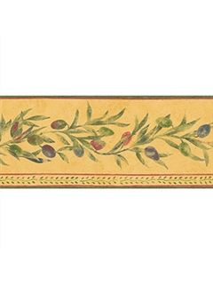 Italian Leaf with Olive Design Wallpaper Border - all4wallswall-paper