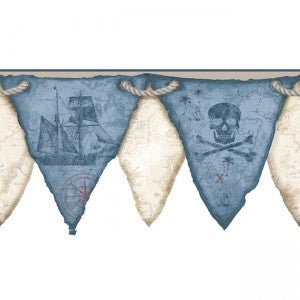 Boys Blue and Beige Pirate - Pirates Pennant -Flags Laser Cut Border - all4wallswall-paper