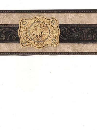 Country Western Gold Buckle on Black Belt on Taupe Wallpaper Border - all4wallswall-paper
