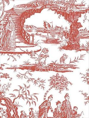 Oriental Scenic Toile in Red and Off White Wallpaper 90 Sq Foot Bolt - all4wallswall-paper