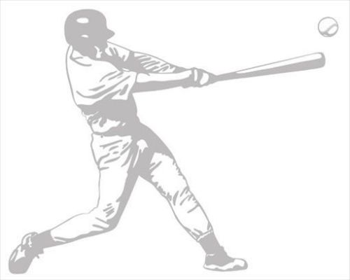 Baseball Batter Sudden Shadow Peel and Stick Mini Mural Applique - all4wallswall-paper