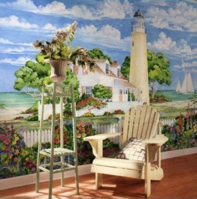 Paul Brent Lighthouse on the Beach 8 ft 4 in x 13 ft 8 in Wallpaper Wall Mural - all4wallswall-paper