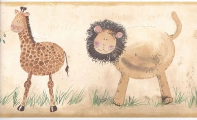 Safari Jungle Animals for the Baby's Room on Beige Wallpaper Border - all4wallswall-paper