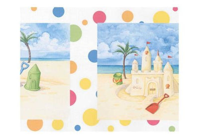 Sand Castles and Buckets on the Beach with Polka Dots Wallpaper Border - all4wallswall-paper