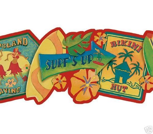 Hawaiian - Hawaii Surfboard Laser Cut Wallpaper Border - all4wallswall-paper