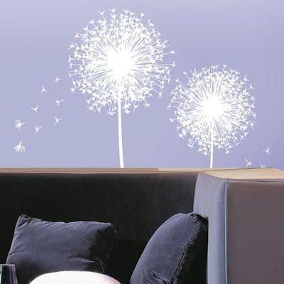 White Dandelion Blown Away Mural Peel & Stick Appliques - all4wallswall-paper