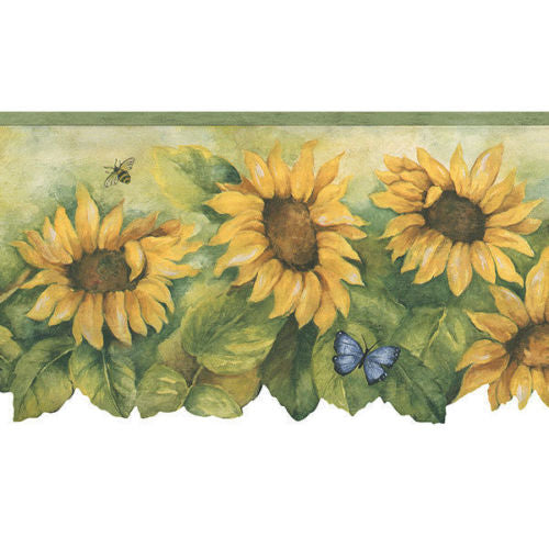 Sunflower with Light Green Edge Laser Cut Wallpaper Border - all4wallswall-paper