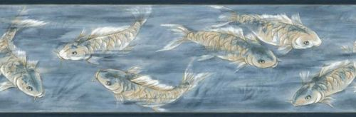 Asian Koi in Blue Water Background Wallpaper Border - all4wallswall-paper
