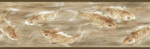 Asian Koi in Golden Water Background Wallpaper Border - all4wallswall-paper