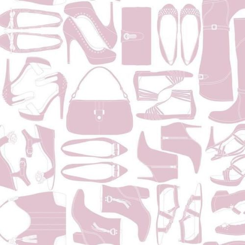 Women's Shoes & Purses Accessories in Dusty Rose on Soft White Satin on Sure Strip Wallpaper - all4wallswall-paper