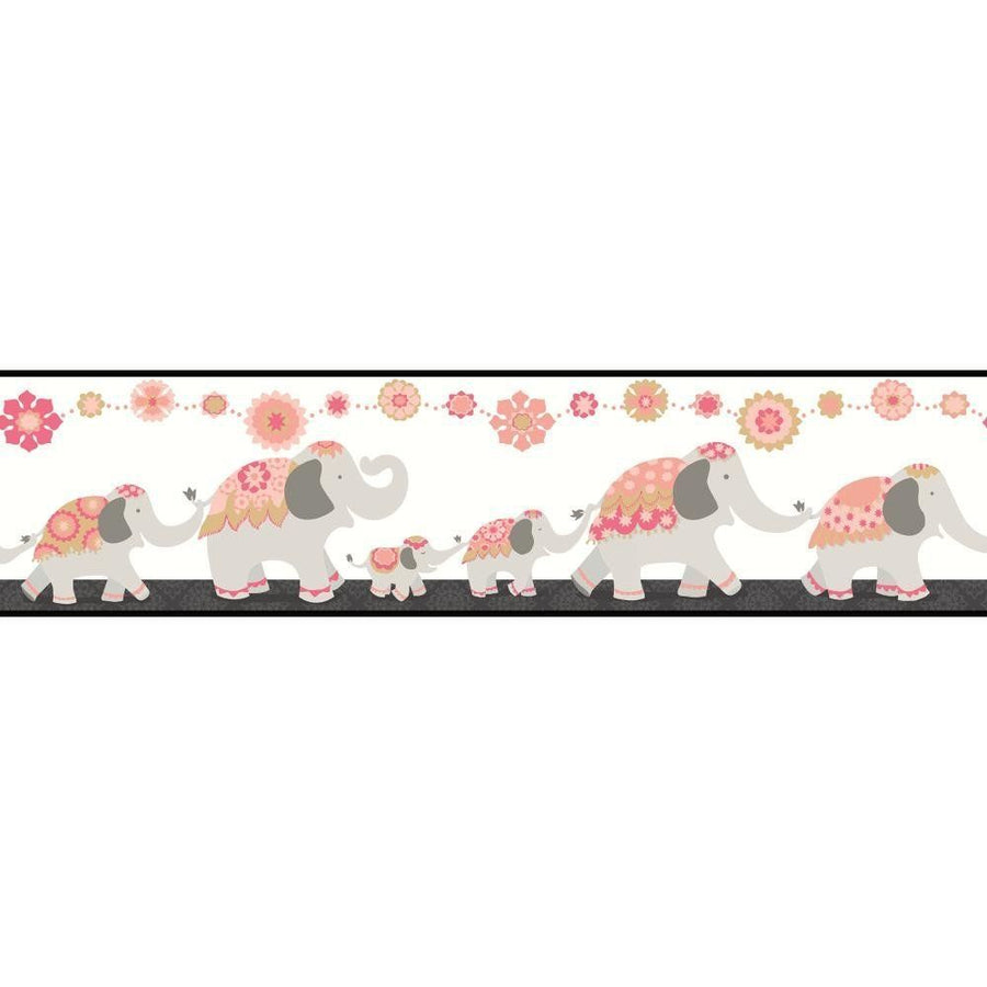 Follow the Leader India Elephant Family in Pink and Grey on Sure Strip Wallpaper Border - all4wallswall-paper