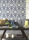 Oversized Navy Blue Lattice on Soft White on Sure Strip Wallpaper - all4wallswall-paper
