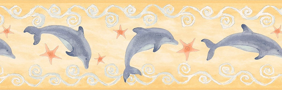 Blue Dolphin on Puffy Yellow Wallpaper Border
