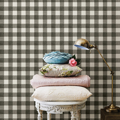 Chesapeake Claire Black, White and Grey Gingham Wallpaper - all4wallswall-paper