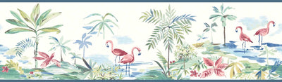 Pink Flamingos Among the Palm Trees on Easy Walls Wallpaper Border - all4wallswall-paper