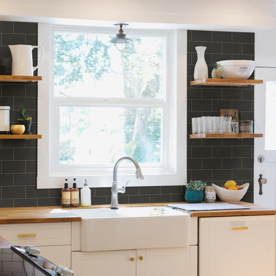 Black Subway Tile on Easy Walls Wallpaper by Chesapeake - all4wallswall-paper