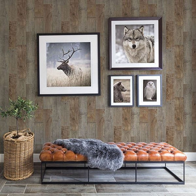 Chebacco Brown Wood Planks on Easy Walls Wallpaper - all4wallswall-paper