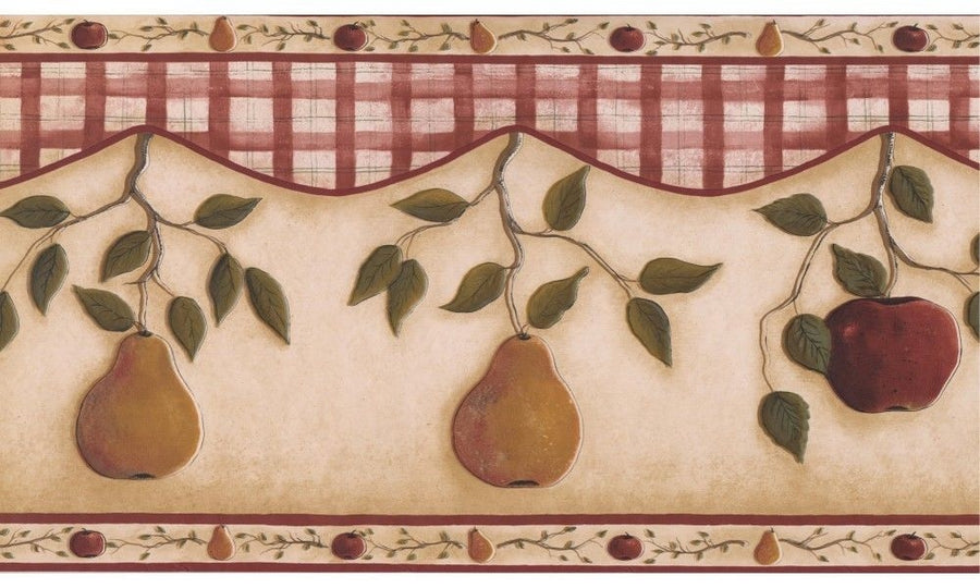 "Apples and Pears with Plaid on Beige Soffit 13.5"" Wallpaper Border"