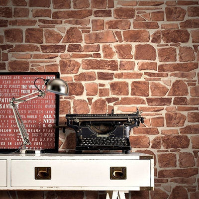 Brick Effect Slate Stone Wall Textured Realistic Unpasted Wallpaper - all4wallswall-paper