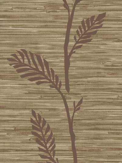 Faux Plum and Beige Grasscloth with Plum Leaf - Vine Overlay Wallpaper - all4wallswall-paper