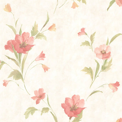 Salmon and Peach Kala Floral on Off White Satin Prepasted Wallpaper - all4wallswall-paper