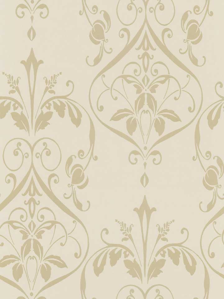 Beige on Beige Raised Nouveau Damask Wallpaper