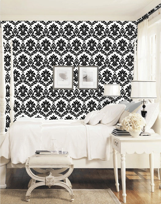 Black & White Bold Damask Large Pattern Wallpaper - all4wallswall-paper