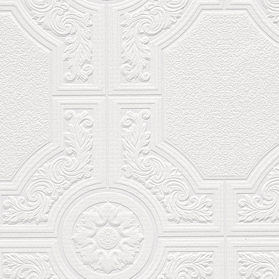 Neo Classic Ceiling Tile Raised White Textured Paintable Wallpaper - all4wallswall-paper